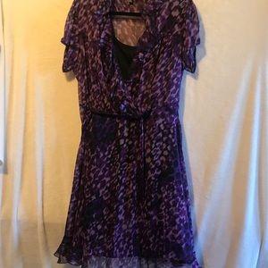 JBS Women's Petite purple ruffled dress